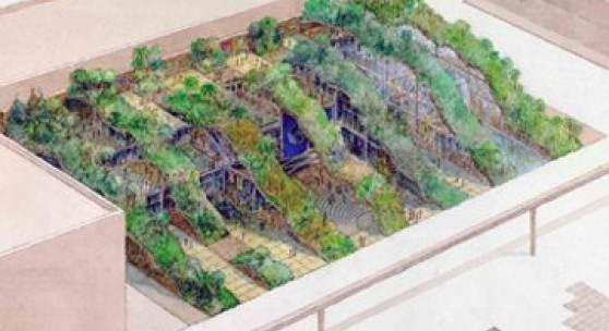 World Ecology Pavilion – Expo '92 1990 Aquarell auf Papier 38,10 x 60,96 cm © James Wines