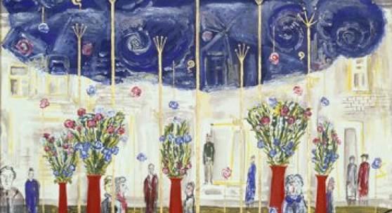 """Abbildung: Lew Jewsowitsch, Mark Chaisman. Trolleybus-Haltestelle  """"Kropotkinskaja"""", 1984, Tempera auf Papier, 54,3 x 55,8 cm © Lew Jewsowitsch, Mark Chaisman"""