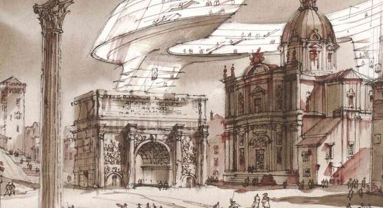 Sergei Tchoban Imprint of the future. Architectural fantasy on the theme of Arco di Settimio Severo, an etching by Piranesi 2017 Sepia, watercolour and graphite on paper 330 mm x 471 mm © Tchoban Foundation – Museum for Architectural Drawing