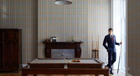 Featuring  a  vintage  oak  pool  table,  fitted  in  Huntsman-exclusive  Gregory  Peck  bespoke  tweed