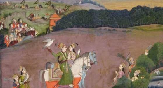 Baz Bahadur und Rupmati bei der Falkenjagd Mir Kalan Khan zugeschrieben Mogul, Delhi, ca. 1735 Pigmentmalerei auf Papier 20.8 x 26.6 cm (bemalte Fläche) Sammlung Eva und Konrad Seitz Foto: Rainer Wolfsberger