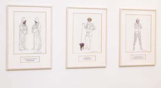 Installation View: Deborah Sengl, Über den Umgang mit Menschen, Galerie Reinthaler, 2018. Foto: georgeye