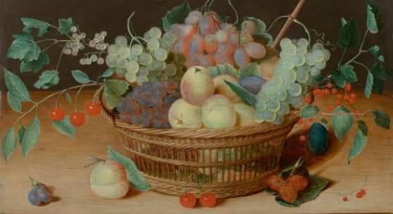 A164 / 3034 ISAAC SOREAU (1604 Hanau a.M. nach 1638) Flechtkorb mit Früchten auf einer Tischplatte mit Insekten. Öl auf Holz. 38,5x56 cm.  CHF 240 000 / 280 000