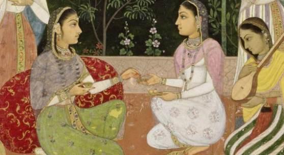 Moghuldame mit Dienerinnen beim Picknick im Haremsgarten, Indien, Ende 17. Jahrhundert, Deckfarben und Gold auf Papier