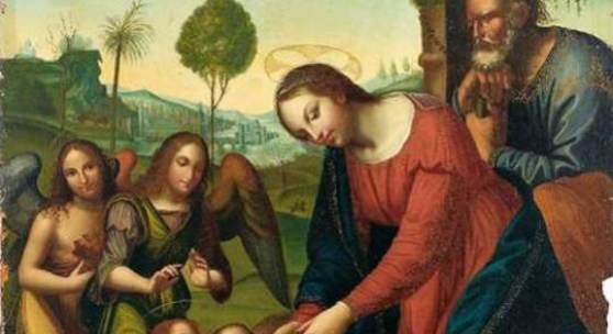 2933  Italienischer Maler der Renaissance, um 1520. Die Hl. Familie mit dem Johannesknaben und zwei Engeln. Öl/Lwd. auf Holz 114 x 96 cm  Limit 5.000 €  Ergebnis 6.000 €