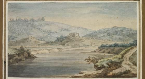 """Johann W. von Goethe """"Tiberlandschaft""""  Aquarell   11 x 19 cm  Taxe: 40.000 – 60.000€"""