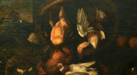 Unbekannten Meister 940 Deutscher Stilllebenmaler 17. Jh. Öl/Lw. Jagdstillleben. In einem Weidenkorb erlegte Hühner und Schnepfen, daneben ein lebender Truthahn und wachsame Katze (doubl., u.r. Einriss, Craquelé). 90 x 118 cm. Goldrahmen der Zeit. (4295017) 2 500,-- EURO 945