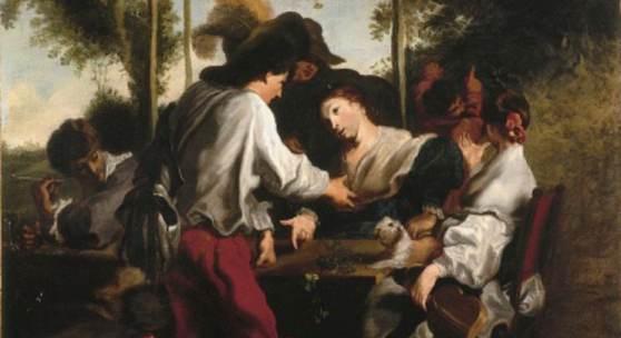 """Johann Liss, """"Das Morraspiel im Freien"""", um 1626 Öl auf Leinwand, 68 x 58,5 cm, Dauerleihgabe des Landes Schleswig-Holstein © Kunsthalle zu Kiel, Foto: Martin Frommhagen"""