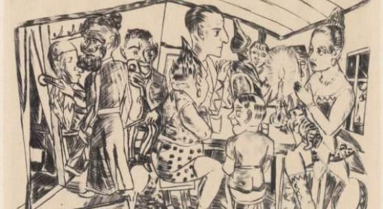 Hinter den Kulissen, 1921 Kaltnadelradierung, 21 x 31 cm aus: Der Jahrmarkt, Blatt 3  Privatbesitz