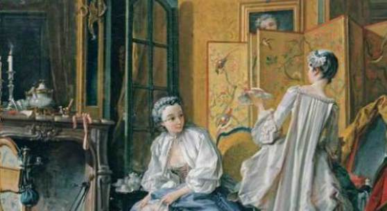 """Boucher, Francois Woman Fastening her Garter with her Maid Rokoko Das Gemälde """"Woman Fastening her Garter with her Maid"""" von Boucher, Francois als hochwertige, handgemalte Ölgemälde-Replikation. Originalformat: 52,5 x 66,5 cm © www.oel-bild.de"""