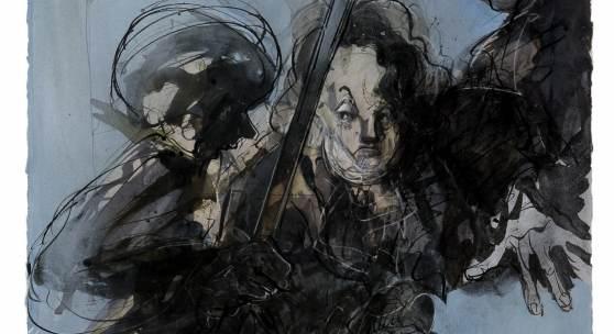 """Jochen Stücke: """"Mirabeau zwischen Krone und Konstituante""""; Tusche laviert, Farbstift, Gouache; 2009; 76,5 × 57,5 cm; © VG Bildkunst, Bonn 2014"""