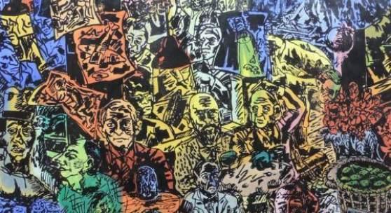 """Jörg Immendorf (1945-2007), """"Café de Flore"""", signierter Linolschnitt auf Leinwand von 1991 (Schätzpreis: EUR 4.000-6.000)"""