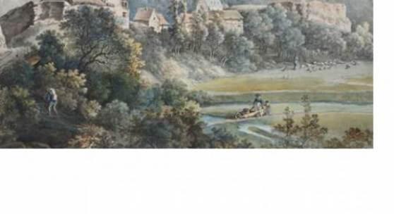 Johann Georg von Dillis, Blick auf Adolfseck im Rheingau, 1788, Bleistift, Feder, Aquarell, mit schwarzer Tusche gerändert, 27,1 x 36,1 cm, Foto: Horst Kolberg, Neuss
