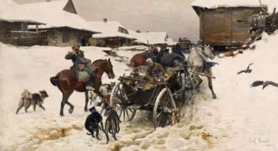 Josef von Brandt  Abfahrt zu Jagd  Öl auf Leinwand | 64 x 120,5cm  Schätzpreis: 50.000 – 70.000 Euro