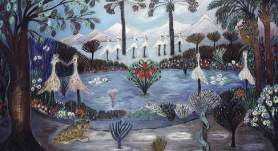Josephine Troller, Garten Eden, 1963–1964, Öl auf Leinwand, 80 × 130 cm, Kunstmuseum Luzern