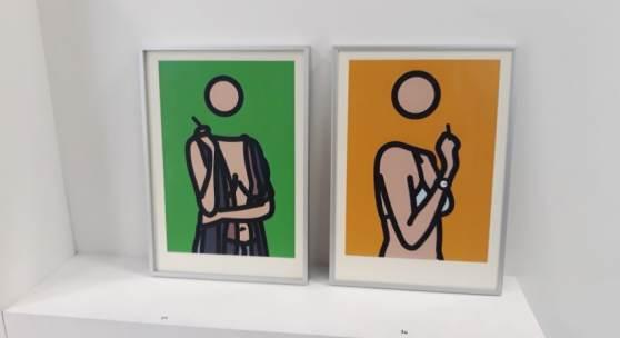 Bild 25+26: Julian Opie: Ruth smoking, Lambdaprint, 2005; Ex.:222/250, 21&29,7 cm. Je 660 €, mit Alurahmen und Mirogardglas UV70= 700 € (Bild 25, verkauft)