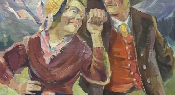 Abb.: Egon Wucherer, Kärntner Paar, o. J., Öl auf Platte, Privatsammlung