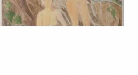 """Heckel, Erich: """"Zwei Figuren am Ufer"""". Aquarell, rechts unten Bleistiftsignatur mit Datierung (19)39 über Originaltitel, verso auf Etikett der Kunsthandl Limit: 16.000 €"""