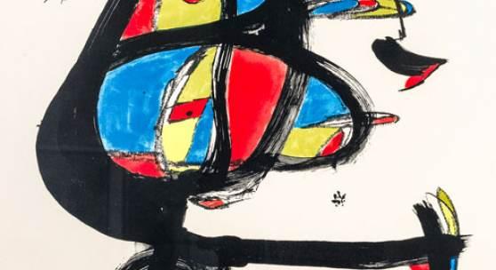 "1777 Miro, Joan 1893 Montroig - 1983 Palma de Mallorca. Farblithogr./Arches. ""CAP I CUA"". 1979. U.r. mit Bleistift sign.  U.l. 60/75 num. (Am Rand min. fleckig). 100 x 72 cm. R. WVZ Maeght 1182. Lit.: 1,2,13,14. (3103111)5 500,-- EURO"