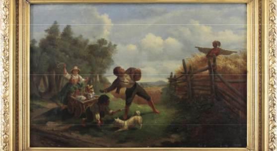 """Kat.Nr. 61 Maler des Biedermeier (19. Jhd.) - Öl auf Leinwand, """"Die Vogelscheuche"""""""