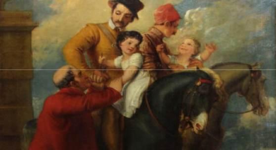 """Kat.Nr. 970 Thomas Stothard (1755 - 1834) - Öl auf Leinwand, """"Szene aus der englischen Ballade: Die Kinder im Wald / The Babes in the Woods"""""""