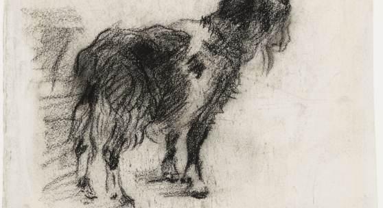 """Lovis Corinth,  Skizze einer Ziege zu dem Gemälde """"Kindheit des Zeus"""" Kohle, 25 x 29,2 cm, Kunsthalle Bremen – Der Kunstverein in Bremen, Kupferstichkabinett"""
