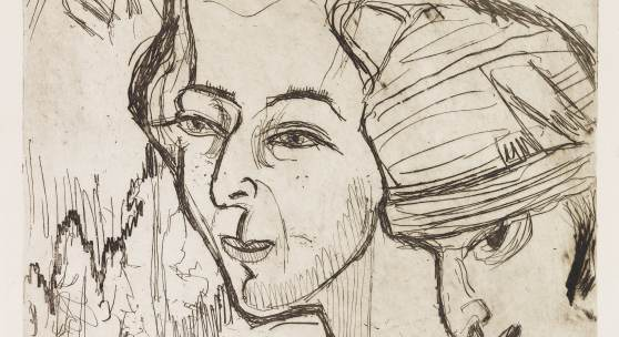 Ernst Ludwig Kirchner Köpfe Radierung, 1926, wohl Unikat 31,2 x 25 cm / 12.2 x 9.6 inches € 7.000-9.0000