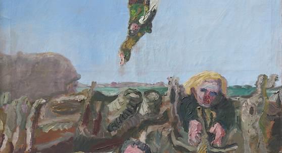 Klaus Fußmann *1938, Abstürzender (Ikarus), 1987, Öl auf Leinwand, 246 x 194 cm, Privatsammlung, Copyright: Klaus Fußmann, Copyright Scan: Recom Art, Berlin