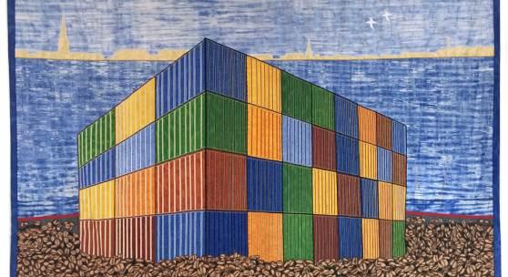 Abdoulaye Konaté, Coffee Beans − Container, 2015. Stoff, 345 x 249 cm. © Abdoulaye Konaté