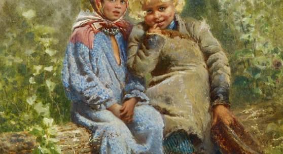 Konstantin E. Makovsky (1839 – 1915) | Zwei Kinder im Garten | Öl auf Holz 45,5 x 37 cm Taxe: 280.000 – 350.000 Euro