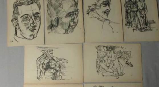 Kokoschka, Oskar (1886-1980), 8 Lithographien / Künstlersteinzeichnungen, im Stein monogrammiert, darunter 3 Porträts (1 Selbstporträt); auf elfenbeinfarbenem Papier, ca. 24 x 15,6 cm (Ränder min. gewellt und z. T. gebräunt).