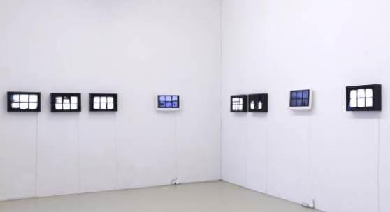"""German Titov, Aus der Serie """"Windows"""", 2014, Videoinstallation mit Leuchtboxen, Foto: Krinzinger Projekte, Courtesy Galerie Krinzinger, Wien und der Künstler"""
