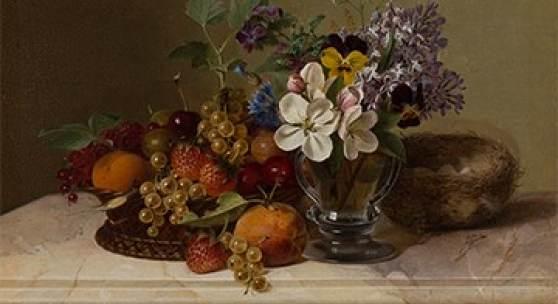 Jakob Lehnen, Stillleben mit Vogelnest, Öl, 1844