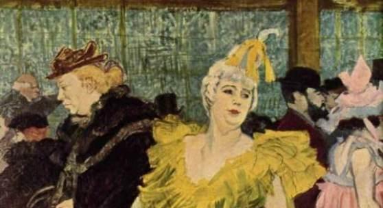 """Toulouse Lautrec, Henri de  La Clownesse Cha U Ka O in Moulin Rouge Impressionismus   Das Gemälde """"La Clownesse Cha U Ka O in Moulin Rouge"""" von Henri de Toulouse Lautrec als hochwertige, handgemalte Ölgemälde-Replikation"""