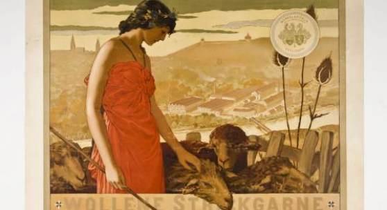 Max Laeuger Plakat für Kammergarnspinnerei Merkel & Kienlin Esslingen Farblithografie, 1894