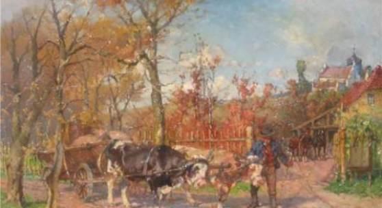 """Paul Burmeister(1847-1923)""""Bauer mit Ochsenkarren"""",Öl a.Lw.,signiert,39,5x60cm"""