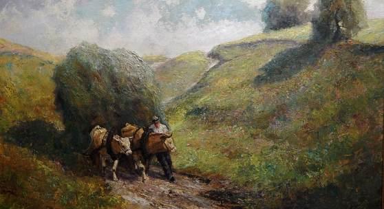 """Otto Pippel (1878-1960) """"Heuernte"""" ,Öl auf Leinwand,signiert, 85,5x111cm"""
