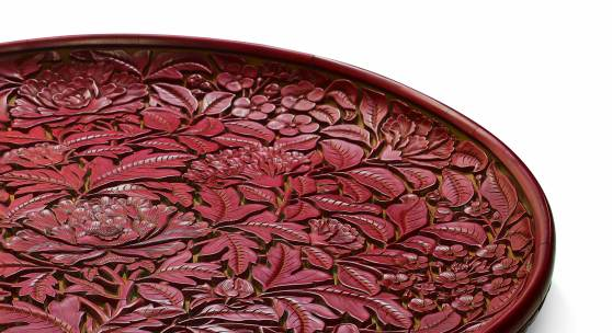 138 A MAGNIFICENT AND EXTREMELY RARE LARGE CARVED CINNABAR LACQUER DISH LATE YUAN/EARLY MING DYNASTY LOT SOLD. 1,568,750GBP
