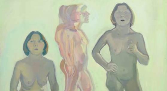 Maria Lassning, Dreifaches Selbstporträt/New Self, 1972 Öl auf Leinwand. Courtesy der Künstlerin Foto: UMJ / N. Lackner.