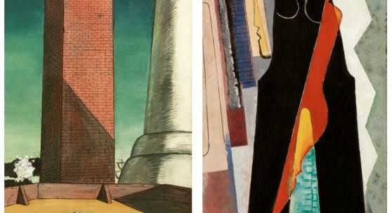 Left: Giorgio de Chirico, Il Pomeriggio di Arianna (Ariadne's Afternoon); Right: Man Ray, Black Widow (Nativity)