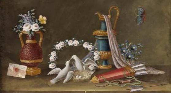Johann Rudolf Feyerabend, gen. Lelong, Stillleben mit schnäbelnden Tauben, um 1800, Tempera auf Pergament, 21,5 x 16 cm.  Foto: Kunsthandel P. Ohme