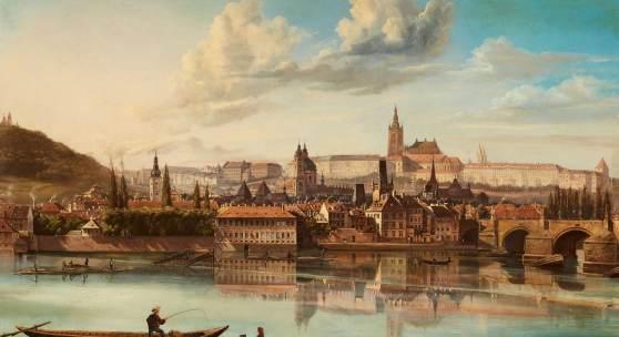 Ferdinand Lepgé (oder Lepié) (1824 – 1883) Blick auf Prag. 1858 Öl auf Leinwand, 95 x 127 cm.