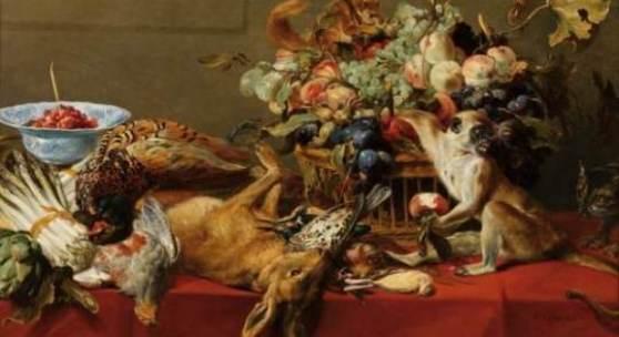 © LIECHTENSTEIN MUSEUM. Die Fürstlichen Sammlungen, Wien   Frans Snyders (1579–1657) Stillleben mit Früchten, Wild und Gemüse sowie ein lebender Affe, ein Eichhörnchen und eine Katze, um 1635/40  Öl auf Leinwand; 81 x 118 cm Sign. unten rechts: F. Snyders fecit Hohenbuchau Collection, Inv.-Nr. HB 87. © LIECHTENSTEIN MUSEUM. Die Fürstlichen Sammlungen, Wien