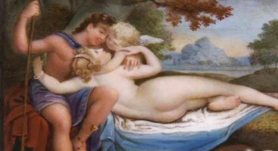 """""""Venus und Adonis"""", Miniatur 18. Jh., Sammlung Dr. Löer, Neues Schloss Bayreuth"""