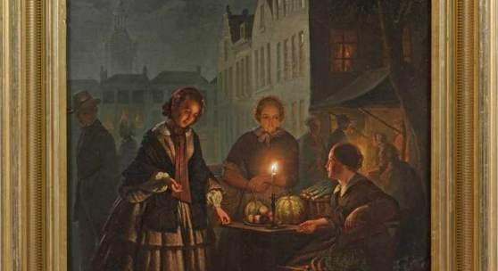 Petrus van Schendel (1806 Terheide - 1870 Brüssel) Abendliches Treiben auf dem Grote Markt in Den Haag bei Kerzenschein, Mindestpreis:35.000 EUR