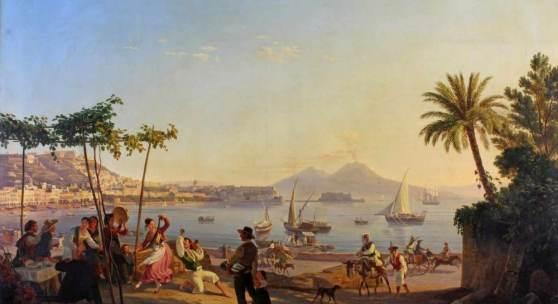 """Götzloff, Carl Wilhelm (1799 Dresden - 1866 Neapel) """"Blick auf den Golf von Neapel"""", im Hintergrund der Vesuv, im Vordergrund tanzende Neapolitaner, Öl auf Leinwand, signiert unten links C. Götzlof, 78 x 122 cm Mindestpreis:14.000 EUR"""