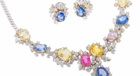 """Collier mit Ohrclips """"Fleur d'amour"""" Juweliere Leicht, Pforzheim, modern, aus der Kollektion """"fleur d'amour"""", Weißgold 750, Mindestpreis:22.000 EUR"""