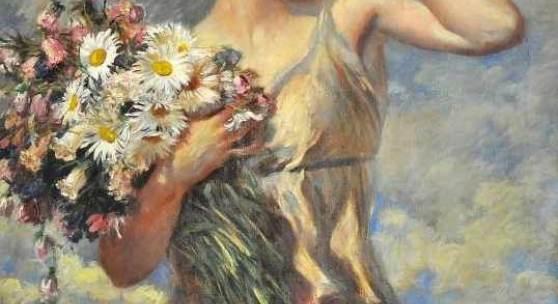 """SCHMUTZLER Leopold (1864 Böhmen - 1941 München) """"Der Sommer"""" Junge Dame in leichtem antizipierenden Gewand, Mindestpreis:1.400 EUR"""