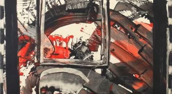"""Sonderborg, K. R. H. das ist Kurt R. Hoffmann, Sonderborg 1923 - 2008 Hamburg, Maler und Grafiker des Informel, Prof. für Malerei an der Staatl. Akad. der Bildenen Künste in Stuttgart. """"Ohne Titel"""", Abstraktion, unten rechts sign. und dat. (19)66, Öl und Tempera/Leinwand, rückseitig mehrere Klebeetiketten mit Bez. sowie Werknr.: SON2505, HxB: 110/70 cm. Aufrufpreis:25.000 EUR"""