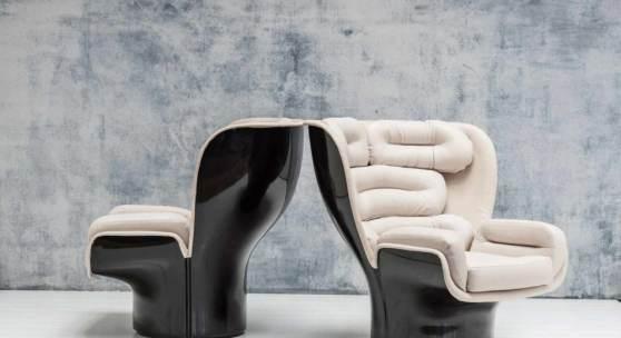 Zwei Armlehnsessel 'Elda' 1965 Joe Colombo  H. 93 x 95,5 x 95 cm.  Comfort, Mailand. Faserverstärkter, dunkelbrauner Kunststoff, cremefarbenes Leder. Repertorio 1950-1980, S. 216. Neu beledert.  Aufrufpreis:5.500 EUR Schätzpreis:7.000 - 9.000 EUR Zuschlagspreis:11.000 EUR
